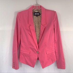 Just Cavalli Bright Pink Blazer w/ Leopard Lining